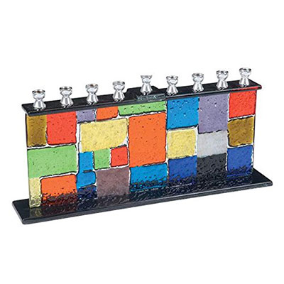 Fused Glass Wall Menorah Multi Colored
