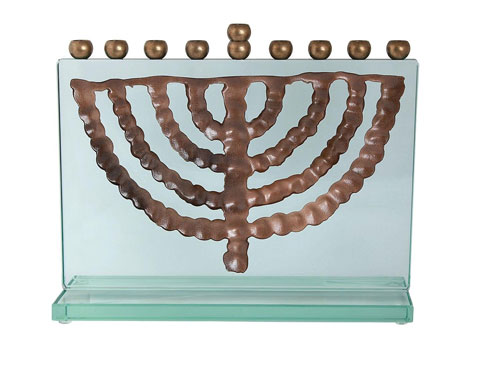 Glass Brass Hanukkah Menorah Ein Gedi Adaptation 6th Century