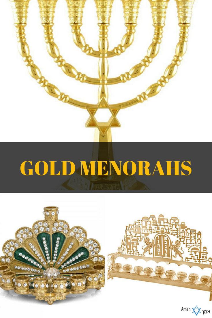Gold + Brass Menorahs