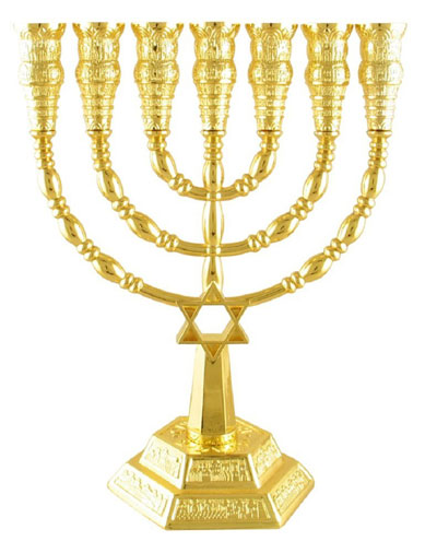 Gold Color Star Of David 7 Branch Temple Menorah