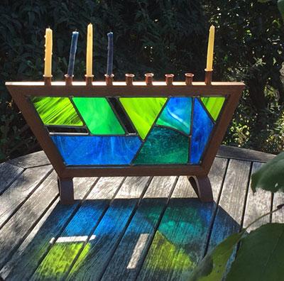Handmade Stained Glass Hanukkah Menorah Colorful Glass Hanukkiah Original Design