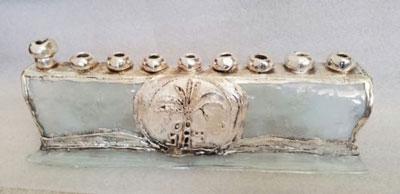 Hanukkah Collectors Glass Sterling Silver Menorah Made In Israel