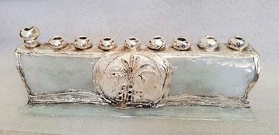 Hanukkah Collector's Glass Sterling Silver Menorah Made In Israel