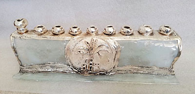 Hanukkah Collector's Glass Sterling Silver Menorah Made In Israel