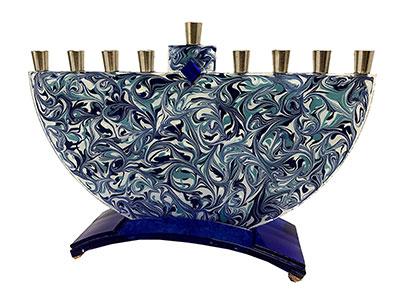 Marbled Blue Hanukkah Menorah Hand Made By Tamara Baskin Art Glass