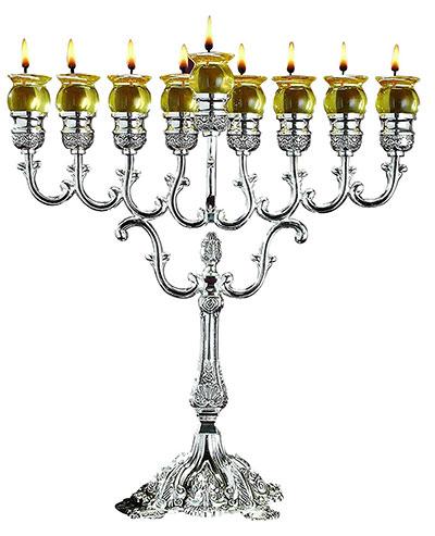 Ner Mitzvah Chanukah Oil Menorah Silver Plated