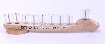 Olive Wood Hanukkah Menorah Handmade