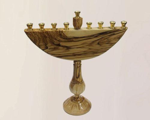 Olive Wood Personalized Hanukkah Menorah