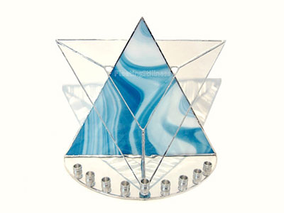 Stained Glass Judaica Hanukkah Candle Holder