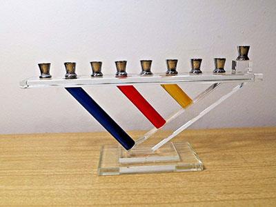 Vintage Modernist Glass Menorah Primary Color Art Hanukkah Gift Judaica Silver