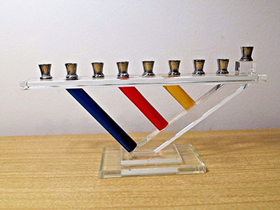 Vintage Modernist Glass Menorah Primary Color Art Hanukkah Gift Judaica Silver