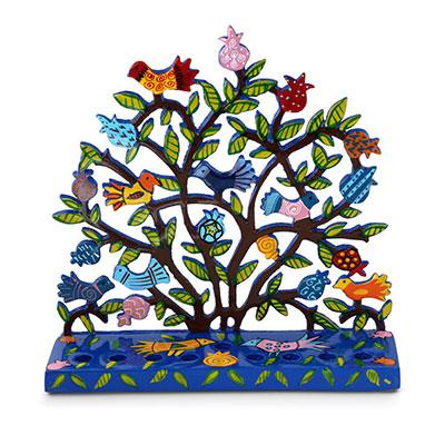 Yair Emanuel Painted Metal Menorah Birds In Pomegranate Tree