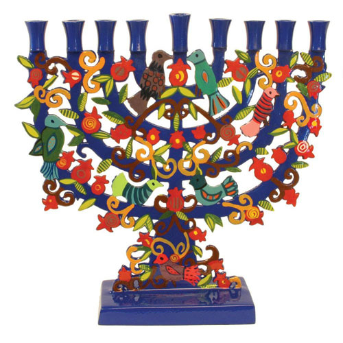 Yair Emanuel Painted Metal Menorah With Arches, Pomegranates Birds