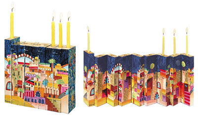 Yair Emanuel Wooden Accordion Menorah Jerusalem