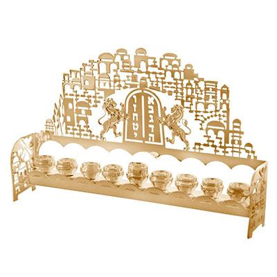 Yealat Chen 24k Gold Plated Menorah Ten Commandments