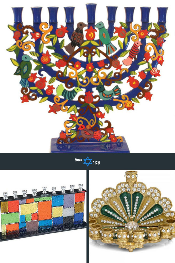 Seven Species Quality Judaica Enameled Hanukkah Menorah with Jeweled Accents Multi Colored