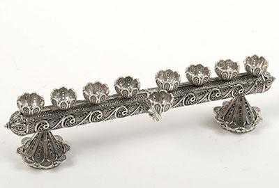 Silver Jewish Hanukkah Menorah Shabbat Candle Holder Antique Yemen Judaica Art