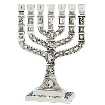 Silver Plated Seven Branch Menorah 12 Tribes Of Israel
