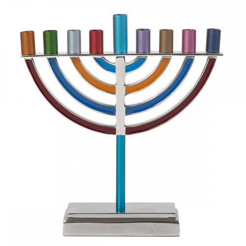 Yair Emanuel Large Traditional Multicolored Hanukkah Menorah