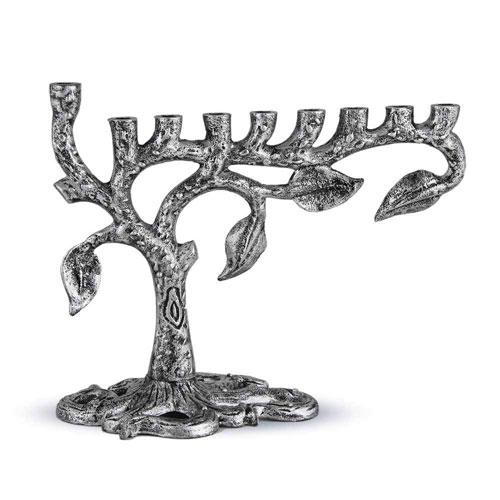 Zion Judaica Artistic Silver Menorah Tree Of Life