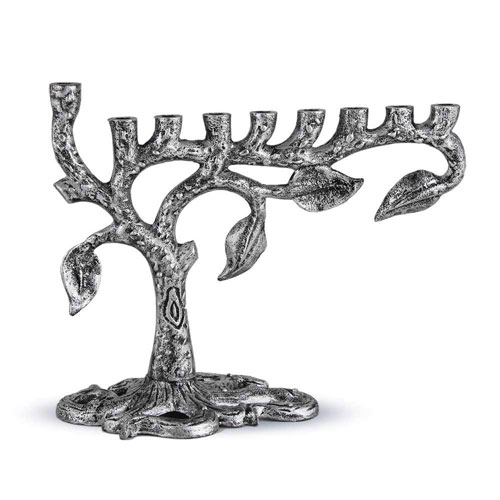 Zion Judaica Artistic Silver Menorah Tree Of Life