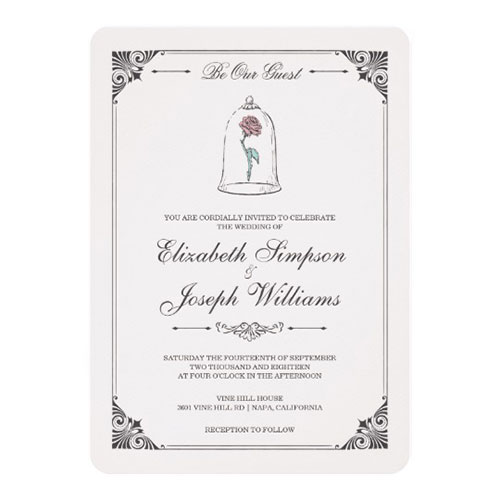 Beauty And The Beast Enchanted Rose Wedding Card