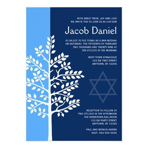 Blue Navy Tree Of Life Bar Mitzvah Invitation