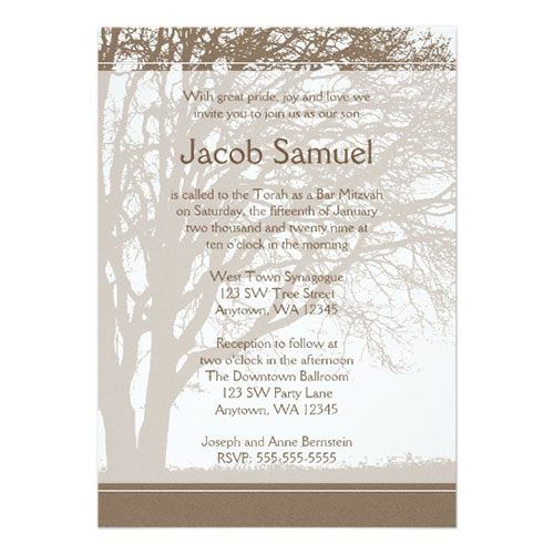 23 unique bar mitzvah invitations for an unforgettable event 2018 brown tree of life bar mitzvah invitations solutioingenieria Gallery