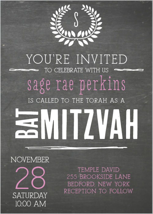 Chalkboard Bat Mitzvah Invitation