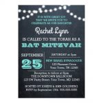 Chalkboard Lights Teal Bat Mitzvah Invitation