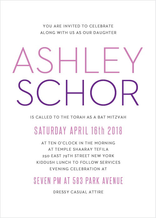 Colorful Names Bat Mitzvah Invitations