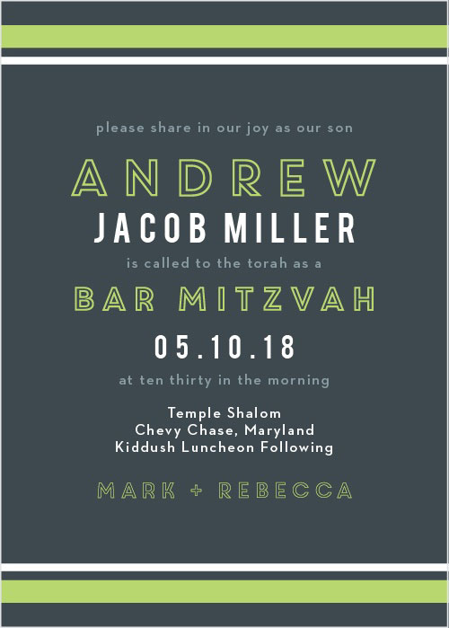 Contemporary Lines Bar Mitzvah Invitations