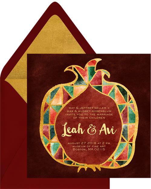 Gold Leaf Pomegranate Invitation