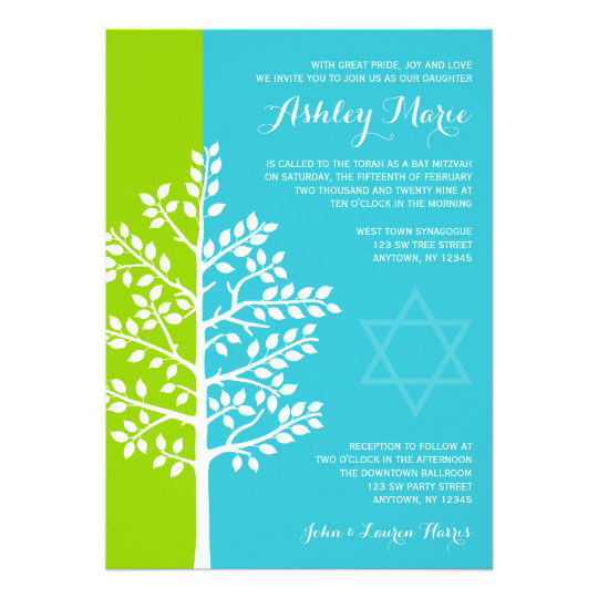Green Teal Blue Tree Of Life Bat Mitzvah Card