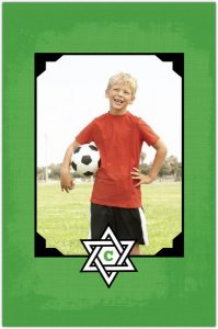 Green And Black Soccer Bar Mitzvah Invitation Back