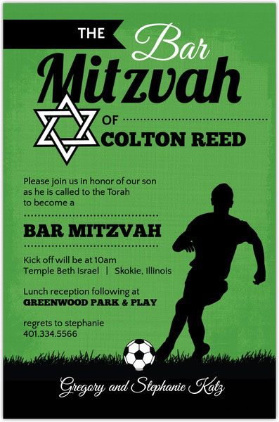 Green And Black Soccer Bar Mitzvah Invitation