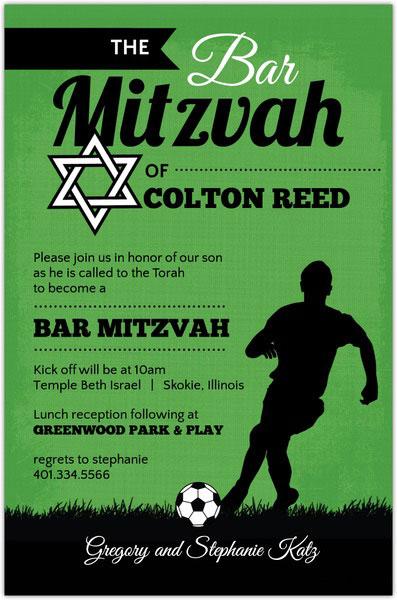 Green And Black Soccer Bar Mitzvah Invitation