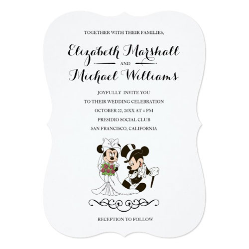 Mickey Minnie Wedding Married Invitation