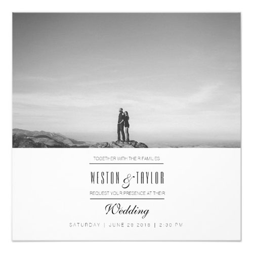 Modern Minimal Wedding Photo Invite
