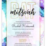 Modern Watercolor Paint Bat Mitzvah Invitation