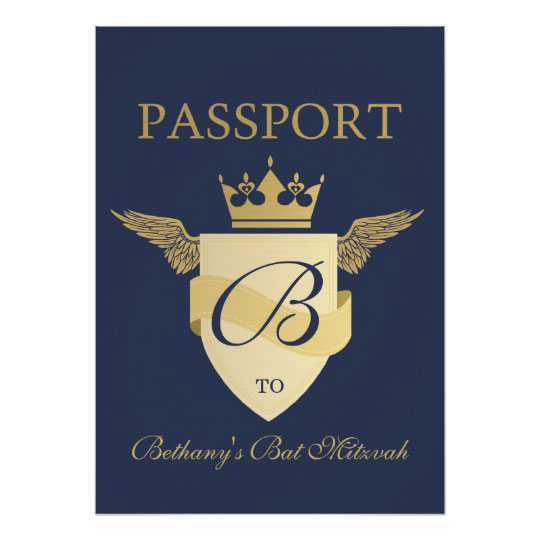Passport Theme Bat Mitzvah Card
