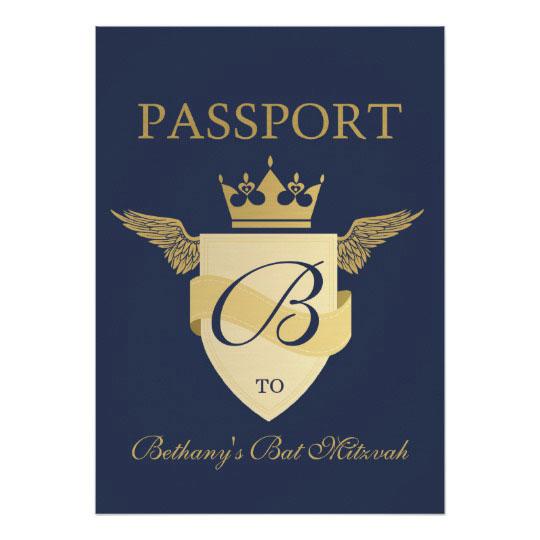 Passport Theme Bat Mitzvah Card