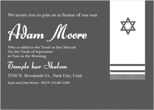 Prayer Shawl Bar Mitzvah Invitations