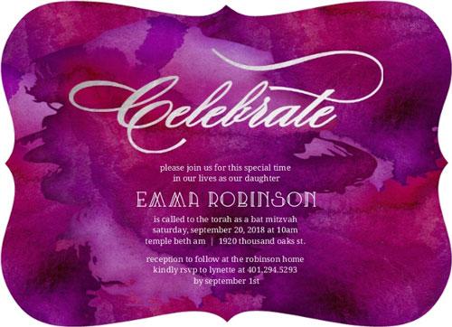 Purple Watercolor Silver Foil Celebrate Bat Mitzvah Invitation