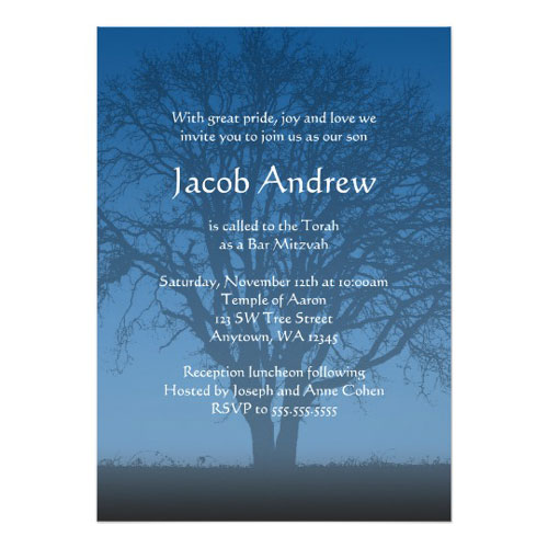 Rustic Blue Tree Of Life Bar Mitzvah Invitations
