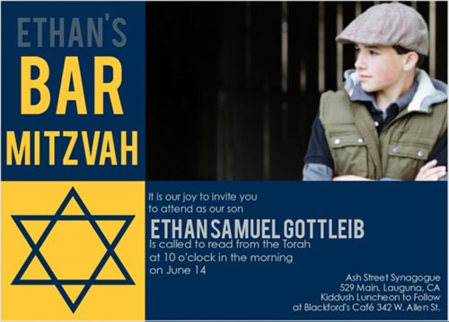 Sectioned Perfection Bar Mitzvah Invitation