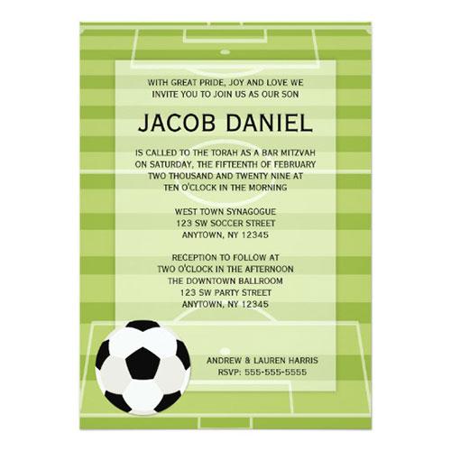 Soccer Field Themed Bar Mitzvah Invitation