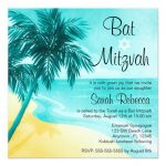 Tropical Beach Bat Mitzvah Invitations