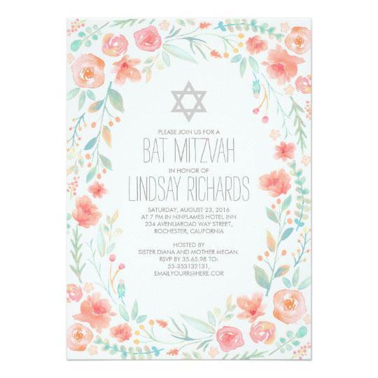 Watercolor Floral Wreath Garden Bat Mitzvah Card