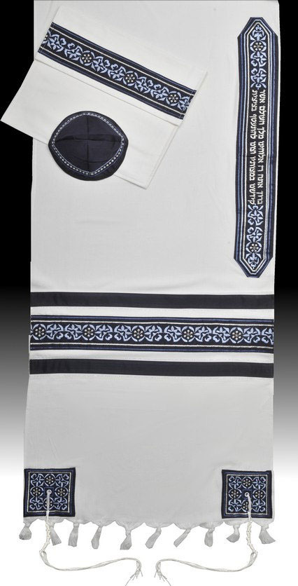 Naftaly Embroidered Tallis In Blues